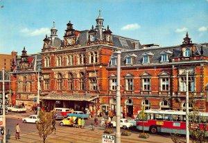 Netherlands Den Haag Station Holland Spoor Street Vintage Cars Postcard