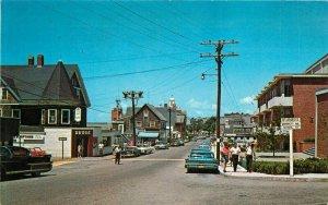 Cape Cod Massachusetts Main Street Woods Hole 1960s Bromley Postcard 21-9339