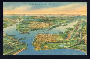 San Francisco, California/CA Postcard, Air View Of Metropolitan Bay Area