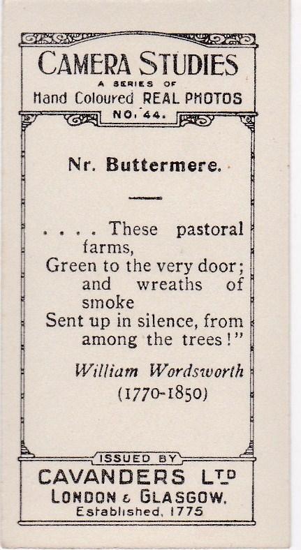 Cigarette Cards Cavanders CAMERA STUDIES Real Photos No 44 Nr. Buttermere