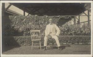 Man in White Suit w/ Hat - Wilton ME Written on Back Real Photo Postcard