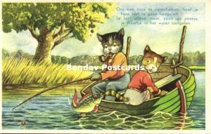 Dressed Cats, Fishing Angling, Smoking Pipe (1950s)