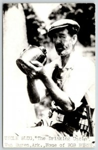 Van Buren Arkansas~Bob Burns' Uncle Slug~Drinking Uncle~Moonshine Jug~1940s RPPC