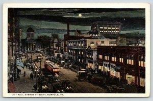 Norfolk VA~City Hall Avenue~Billiards Night Lights~Monticello~Trolleys~1916