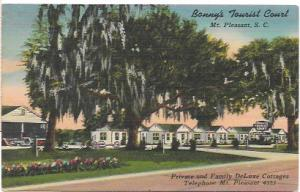 US Deluxe Cottages at Bonny's Tourist Court, Mt Pleasant, S.C.  Unused.