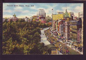 P1650 old postcard busy view cars etc tremont st, movie theater  boston mass