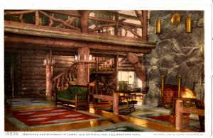 YELLOWSTONE, FIREPLACE AND STAIRWAY IN LOBBY, OLD FAITHFUL INN, DIVIDED BACK