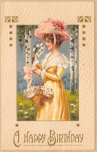 Victorian Lady~Yellow & White Lace~Pink Hat~Snowdrop Lilies~Birch Trees~Germany