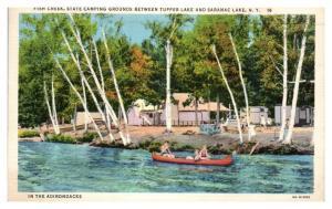 Fish Creek, State Campground near Tupper Lake & Saranac Lake, NY Postcard *5N12