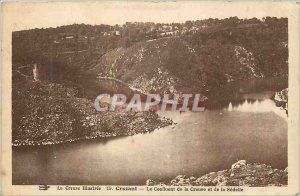 Old Postcard illustrated Creuse Crozant The Confluence of the Creuse and Sedelle
