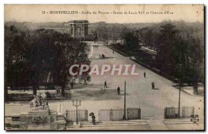 Postcard Old Montpellier Gardens peyrou Statue of Louis XIV and chateau d & #...