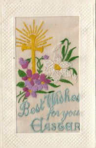 EMBROIDERED, 1900-10s; Best Wishes for your Easter, Gold Cross, Daisy, flowers