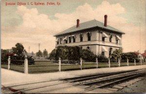 I.C. Railway OFFICES, Fulton, KY Railroad Station 1909 Vintage Postcard