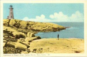 Lighthouse at Peggy's Cove Halifax County Nova Scotia Postcard