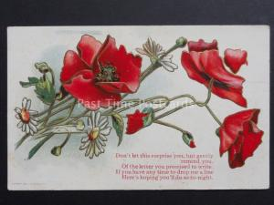 Embossed Poppies Postcard: Dont let this surprise you c1909 - Donation to R.B.L.