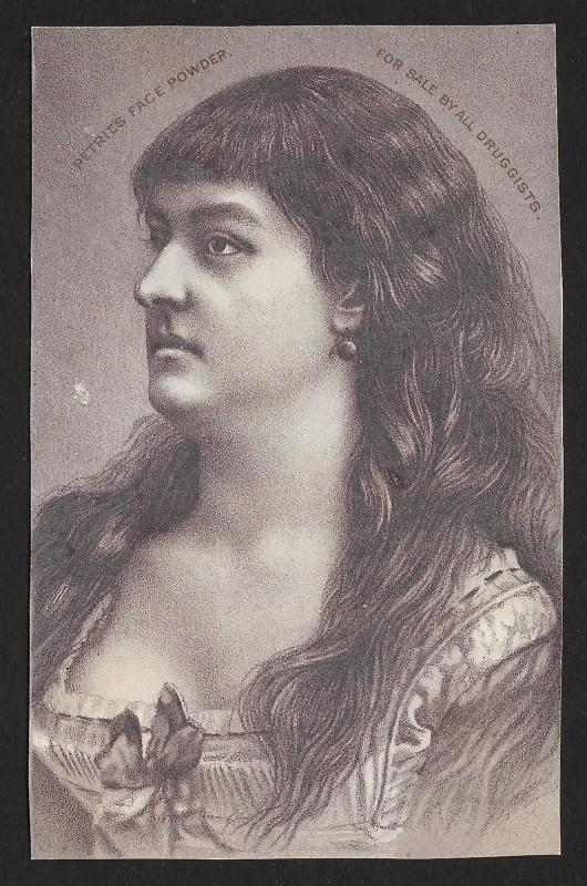 VICTORIAN TRADE CARD Petries Face Powder Profile of Woman with Long Hair