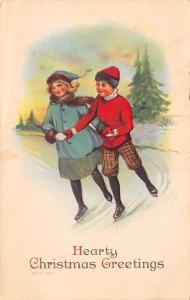 Christmas~Boy & Girl Ice Skate Hand in Hand~Red Hat~Short Pants~Emboss~JP 1916