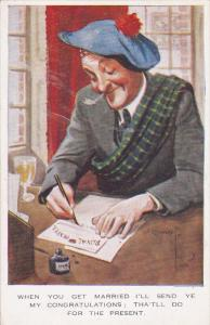 Scottish man wearing blue beret and tartan scarf, writing a letter, 00-10s