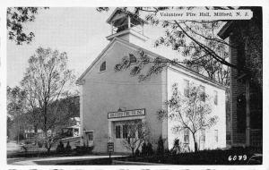 Milford New Jersey~Volunteer Fire Department Hall~Fire Zone~1930s B&W Postcard