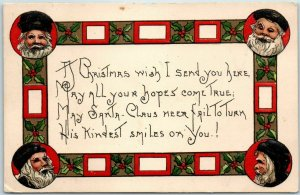 1912 Christmas Postcard SANTA CLAUS May All Your Hopes Come True GRIGGS Art