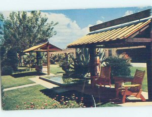 Pre-1980 PATIO AT MOTEL Bowie - Near Wilcox & San Simeon Arizona AZ AD9501