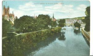 Bath Abbey & River Avon, Bath, early 1900s unused Postcard