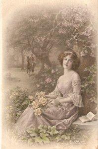 M.M.Vienne. Lady with flowers. Horseman Old vintage Austrian postcard