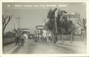 turkey, MERSIN MERSINA, Silifke Caddesi Gazi Paşa Mektebi (1940s) RPPC