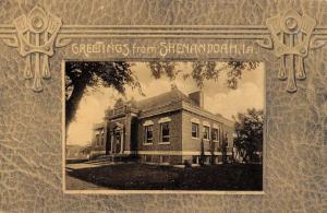 Shenandoah Iowa Library Historic Bldg Street View Antique Postcard K54701