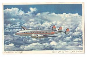 TWA Constellation in Flight Vintage Postcard Airplane