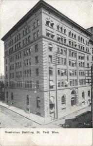 St Paul Minnesota~Manhattan Building~1908 B&W Postcard