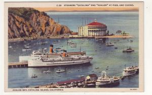 P116 JLs linen postcard steamers at pier & casino calif