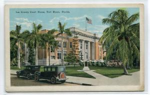 Court House Cars Fort Myers Florida 1920s postcard