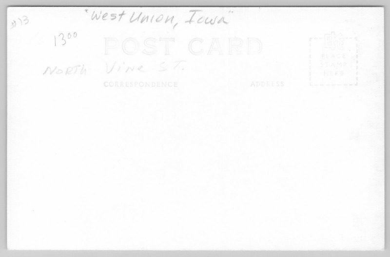West Union IA~Hoover Curlee Clothes, Martin Hardware, Coast to Coast~Rexall RPPC