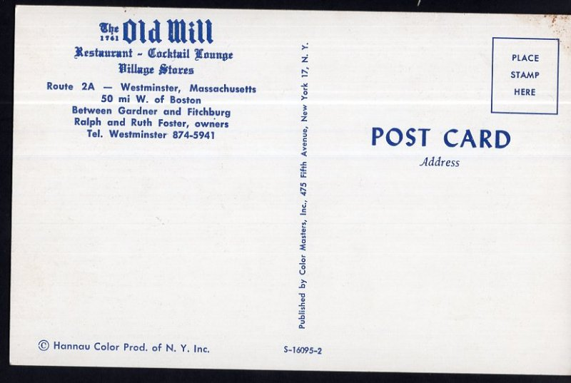 Massachusetts The Old Mill Restaurant Route 2A WESTMINISTER Chrome 1950s-1970s