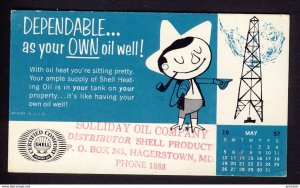 Hagerstown, MD USA - SHELL OIL - your OWN oil well rig caricature 1957 May