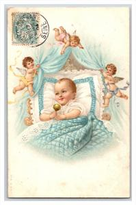 20548  NEW BORN surrounded bu cupids