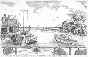 26146, MA, Rockport, 1908, Dining at the Blacksmith Ship Restaurant, boats in...