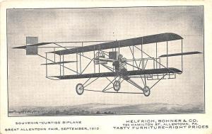 Great Allentown Fair PA 1910 Curtiss Biplane Tasty Furniture Postcard