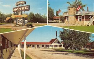 Gaylord Michigan~Alpine Motel~US & Canadian Flags~1960s Postcard