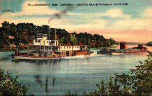California Sacramento River Steamer With Barge 1947