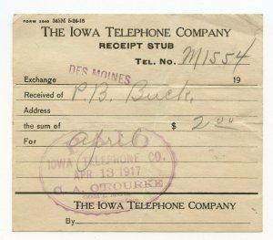 The Iowa Telephone Company Receipt Stub Apr 13, 1917
