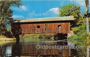 Covered Bridge Vintage Postcard Waterloo Bridge Warner, NH, USA unused