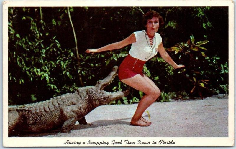 1960s Florida Comic Postcard Girl Alligator Having a Snapping Good Time Unused