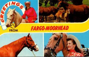 North Dakota Greetings From Fargo-Moorehaed With Horses