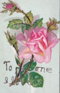 To The One I Love With Beautiful Pink Rose