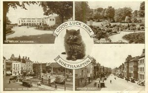 Postcard England good luck from Northampton several aspects and sites cat