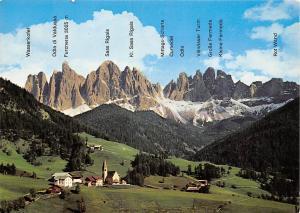 Italy Val di Funes Santa Maddalena Mountains Sass Rigais Rot Wand Wasserkofel