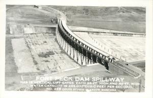 Glasgow Montana~Lift Gates~Fort Peck Dam Spillway~Real Photo Postcard c1950