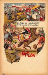 Grus Aus Germany Beer Salon Circus Horse Riding Act Postcard
